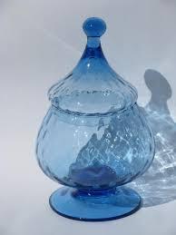 large blue genie bottle 60s vintage italian art glass snifter bowl vase w lid
