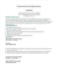 Credit Analyst Resume Example Sample Credit Analyst Resume Corporate Financial Analyst Resume