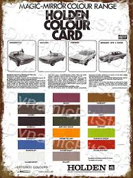 Hq Holden Colour Chart 30x40cm Holden Hq Colour Chart Rustic Decal Or Tin Sign