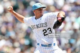 Starting pitcher Peter Lambert of the Colorado Rockies throws in the...  ニュース写真 - Getty Images