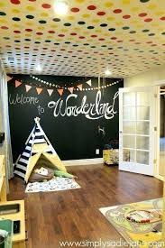 boy playroom ideas chalkboard wall and polka dots on the ceiling under stairs reveal inspiration for boys girl theme playrooms decoration room