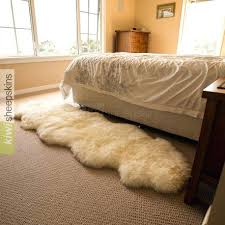 sheepskin rug large double pelt by bed e 2 pelts end to new sourced tanned faux