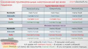Притяжательные местоимения в немецком языке Немецкий язык онлайн  prityazhatelny mestoimeniya sklonenie2