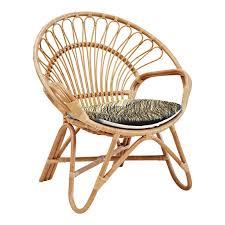 natural round rattan chair with padded seat for