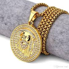 whole 2018 new golden round head pendant necklace iced out medallion style christ head charm pendants rhinestone hip hop jewelry red pendant