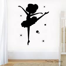 details about ballerina silhouette decal wall art stickers baby nursery mural kids room