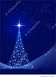 Vertical Blue Background With Christmas Tree And Reindeer