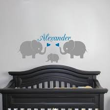personalised name 3 elephants wall decal nursery baby name wall stickers elephants family vinyl wall on personal wall art baby name with personalised name 3 elephants wall decal nursery baby name wall