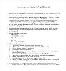 Investment Contract Agreement Sample Investment Contract Investment