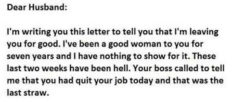 Checkout This Really Funny Breakup Letter Between A Husband And The