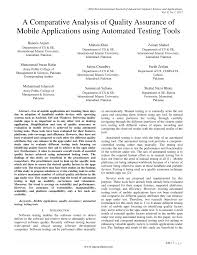 pdf a parative ysis of quality urance of mobile applications using automated testing tools