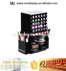 rotating makeup organizer spinning lipstick tower display acrylic rotating makeup organizer with side holders rotating makeup