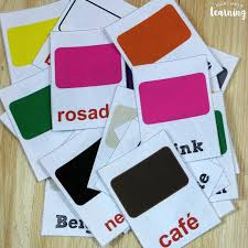 If you don't have a these print out four flashcards per page and even have cut lines to help you neatly cut them apart before using. Printable Spanish Flashcards Spanish Color Flashcards Look We Re Learning