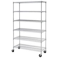 6 shelf commercial steel wire shelving rack w casters 500lbs shelf