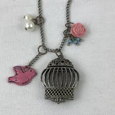 details about birdcage charm pendant long necklace claires faux pearls enamel bird