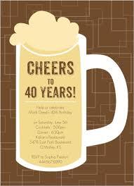40th Birthday Invitations Brown Beers Cheers 40th Birthday Invitation