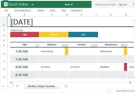 Revision Schedule Template Standard Yet Versatile Template For College Schedule