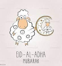 Eid Al Adha Mubarak Zwei Schafe Mit Mond Stock Vektor Art und mehr Bilder  von Eid al-Adha - iStock