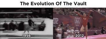 Vault gymnastics gif Gymnastics Flip Larisa Latynina 1956 Olympics Mckayla Maroney 2012 Olympics Buzzfeed The Evolution Of The Vault In One Gif