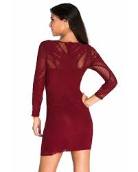 Shop Online Style Shop Lace Nude Illusion Long Sleeves Bodycon.