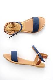 joyce navy flat sandals