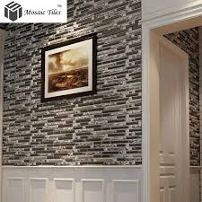 ... TST Glass Metal Tile Silver Stainless Steel Porcelain Base Diamond  Shinning Strip Tiles Kitchen Backsplash Deco