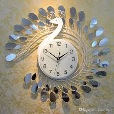 fashion peacock design silent wall clock creative craft clocks for high grade living room bedroom decor large black clocks large black wall clock from