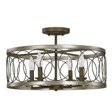 null austin allen co 4 light bronze semi flush mount light