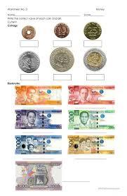 Money - Philippine Coins and Bills worksheet - Free ESL printable ...