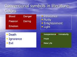 symbols vs motifs symbols in literature a symbol is the use of a  4 conventional symbols in literature colors innocence innocence purity purity enlightenment enlightenment light light death death ignorance ignorance evil