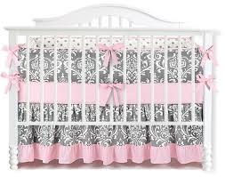 7 pieces set ruffle grey pink fl baby crib nursery bedding set ruffle sheet