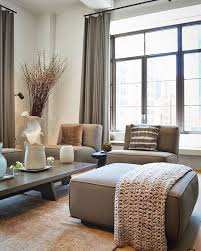 modern Japanese-style living room with taupe upholstery and curtains