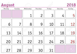 Simple Digital Calendar For August 2018 Vector Printable Calendar