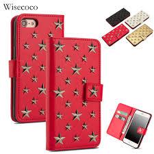luxury leather flip case for iphone 8 7 handmade stars rivet wallet magnetic card holder bookcase