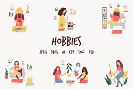 Free vector icons in svg, psd, png, eps and icon font. Hobbies Set Of Illustrations With People 898469 Characters Design Bundles