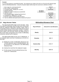 Withholding Allowance Chart North Carolina Income Tax Withholding Tables And