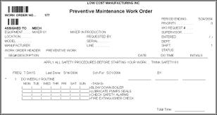 Generate Preventive Maintenance Work Orders Daily