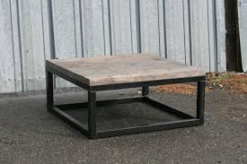 combine 9 industrial furniture reclaimed wood coffee table square legs thick