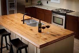 wood island countertop with waterlox finish