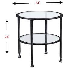 southern enterprises jaymes round glass top metal end table in black ck8742