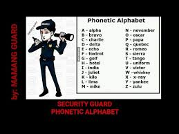 10.08.2015 · 10 codes and phonetic alphabet for security guard as a private security guard, being front liner and protector of the company in times of trouble, emergency or any crimes. Phonetic Alphabet By Mamang Guard Youtube