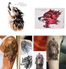 1 шт водонепроницаемый временные татуировки наклейки волк лес животное дерево с