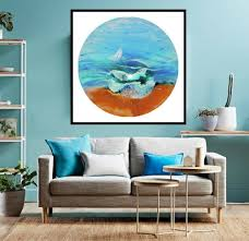 Living Room Paintings Art Turquoise Living Room Daccor Turquoise Abstract Art Blue Ocean