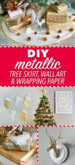 Christmas Decorations For The Wall Diy Metallic Christmas Tree Skirt Wall Art Wrapping Paper