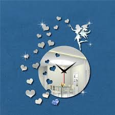 New Design 18\'\'H Fairy Blow Hearts Wedding Decoration Modern Style Mirror  Wall Clock Cartoon Kids Room Decoration