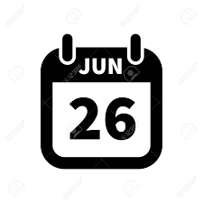Simple Black Calendar Icon With 26 June Date On White Royalty Free