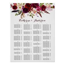 Burgundy Marsala Boho Floral Wedding Seating Chart