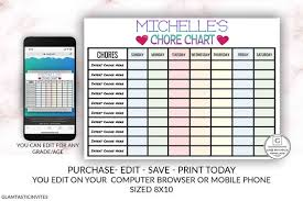Editable Girl Chore Chart Schedule Printable Template You Edit Yourself Chore Charts First Than Chart Classroom Visual Schedule Diy Heart