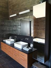track lighting for bathroom vanity. Bathroom Vanity With Led Track Lighting And Mirror Nightstand Also Wood Barstool Plus Black Tile Wall Floor Sink Faucet For E