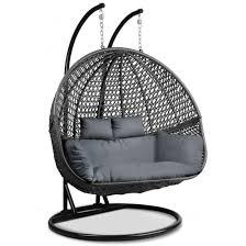 gardeon outdoor double hanging swing chair black now